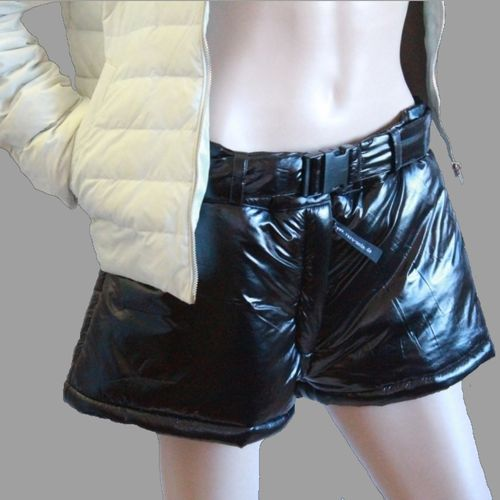 RARU short nylon pants gloss pants sports trousers black