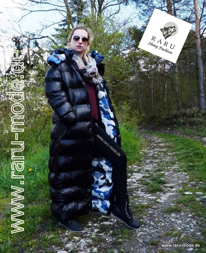 270bbe45a Wet-look gloss nylon Parka winter coat quilted coat - Raru fashion
