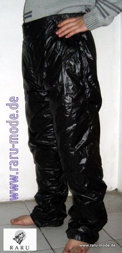 RARU nylon wet look down pants