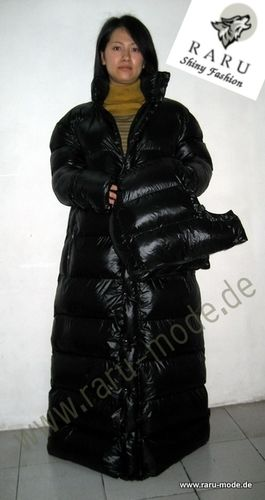 RARU - Wet-Look Glanz Nylon Parka Wintermantel Steppmantel