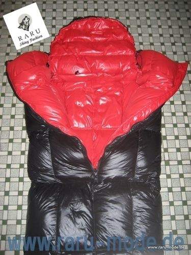RARU fashion glossy nylon wet look down sleeping bag mummy sleeping bag