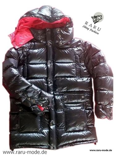 RARU - Wet-Look Glanz Nylon Parka Wintermantel schwarz-rot