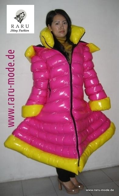 Wetlook gloss Nylon Down Coat in in individual design